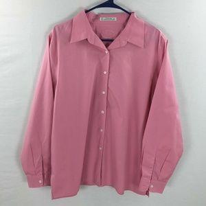Foxcroft button down blouse pink size 16